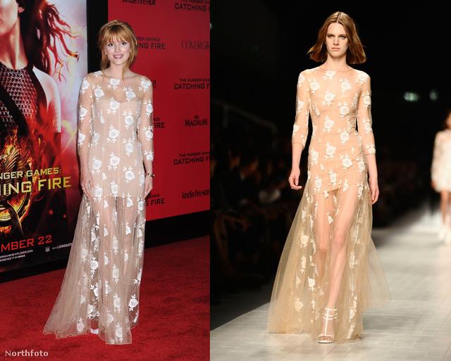 Bella Thorne egy bézs Blumarine-t választott a Futótűz premierjére.