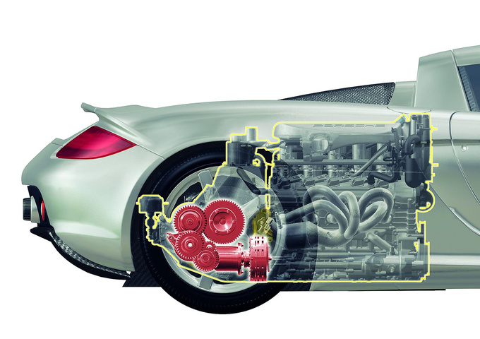 Mid-engine. The Carrera GT had a front/rear weight distribution of 40/60 which is beneficial for rear-wheel drive
