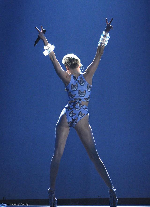 Miley Cyrus az MTV AMA-n macskás aligruhában.