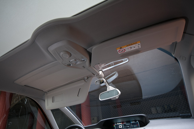 The high-brow windscreen comes with extended pull-down shades