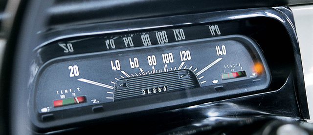 Horizontal speedometers were fashionable those days. There is also a water thermometer and a fuel gauge