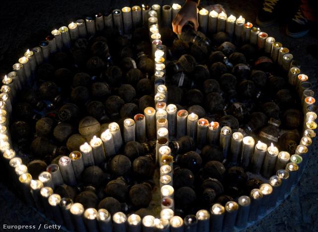 Gyertyagyújtás a békéért Betlehemben, 2013. december 23-án.