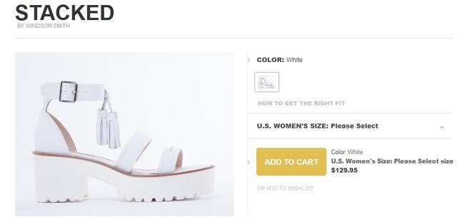 A vastag, fehér talpú cipők divatja szerintünk nem tart már sokáig, mert ezek senkinek nem állnak jól. Ez a 130 dolláros szandál is igazán ocsmány.