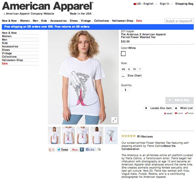 Maszturbálós/ Menstruálós pólójárt 7060 forintot kér az American Apparel.