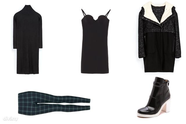 Kötött ruha - 9795 Ft (Zara), alakformáló alsóruha - 3995 Ft (Oysho), leggings - 25 font, kb. 9100 Ft (Topshop), kabát - 25995 Ft (Zara) , cipő - 315 dollár, kb. 70 000 Ft (Elizabeth and James/Shopbop)