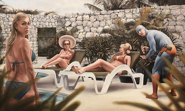 Hétköznapi szituációkban ábrázolja különböző életkorú szuperhőseit valósághű olajfestményein a stockholmi székhelyű művész.