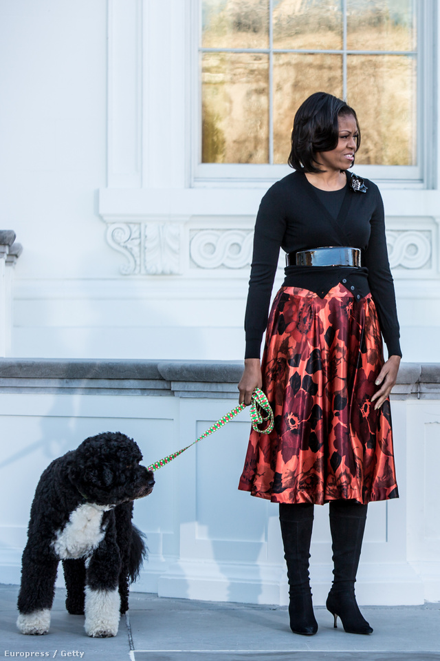 Michelle Obama kutyát sétáltat Washingtonban.
