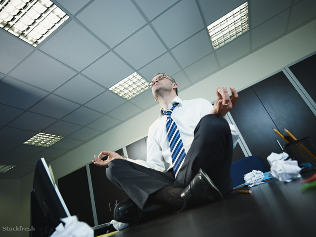 stockfresh 447455 businessman-doing-yoga-in-office sizeM
