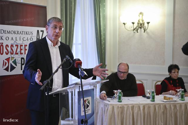 Gyurcsány Ferenc a Demokratikus Koalíció Kultúra és hatalom címmel megrendezett konferenciáján, az Ybl-palotában, 2014. január 22-én.