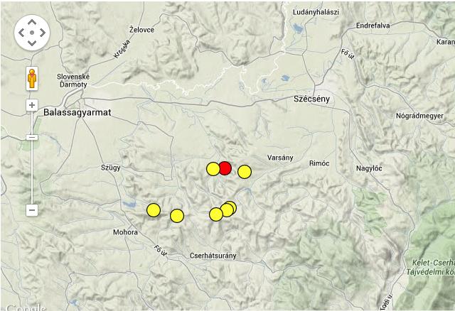 Földrengések az elmúlt harminc napban Magyarországon. Forrás: Kövesligethy Radó Szeizmológiai Obszervatórium