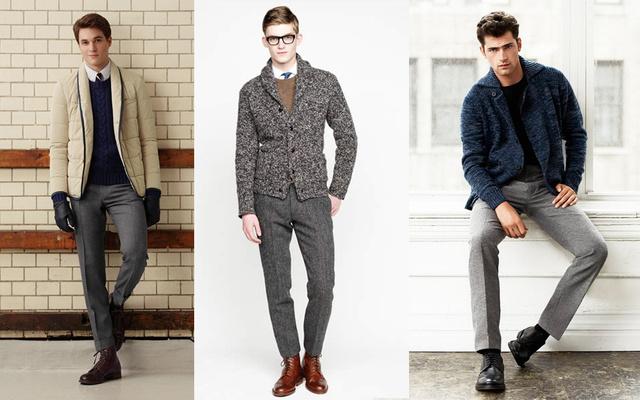 Inspiráció szürke nadrághoz: Gant Rugger, J. Crew és H&M.