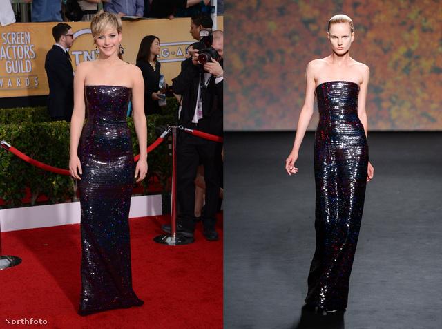 Jennifer Lawrence nem meglepő módon a Diortól kapott ruhát.
