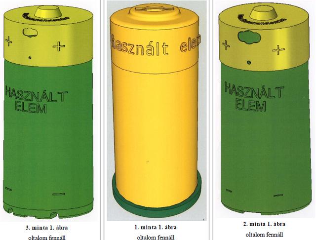 A RE'LEM használtelem-gyűjtő edényeinek formatervezési mintája a védjegybejelentésből. Forrás: Szellemi Tulajdon Nemzeti Hivatala adatbázisa.