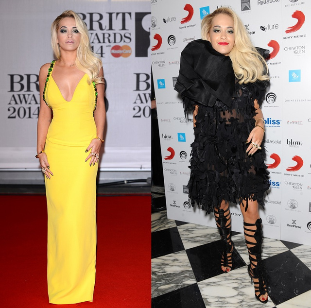 Rita Ora a vörös szőnyegen, majd a bulihoz öltözve. Melyik a jobb?