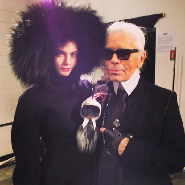 Lagerfeld egy kulcstartóra és Cara Delevingnére bízta a Fendi showt.