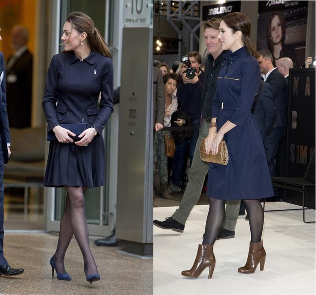 Katalin 2013 novemberében épp elhagyja a Place2Be Forum-ot Londonban. Mária dán hercegné 2013. február elsején a koppenhágai divathéten látogat meg egy vásárt térdig érő sötétkék kosztümben.