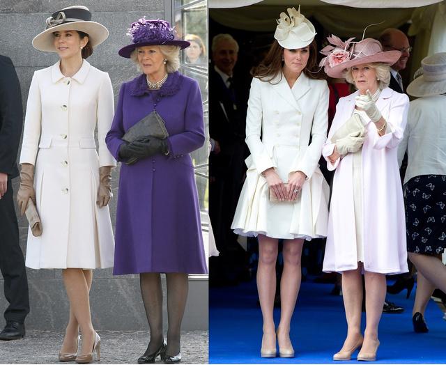 Mária és Katalin is fehérben ácsorgott Kamilla mellett. Mária 2012. március 26-án, egy skandináv gyémántjubileumi eseményen, Katalin 2011. június 18-án egy Windsor kastélybeli rendezvényen.