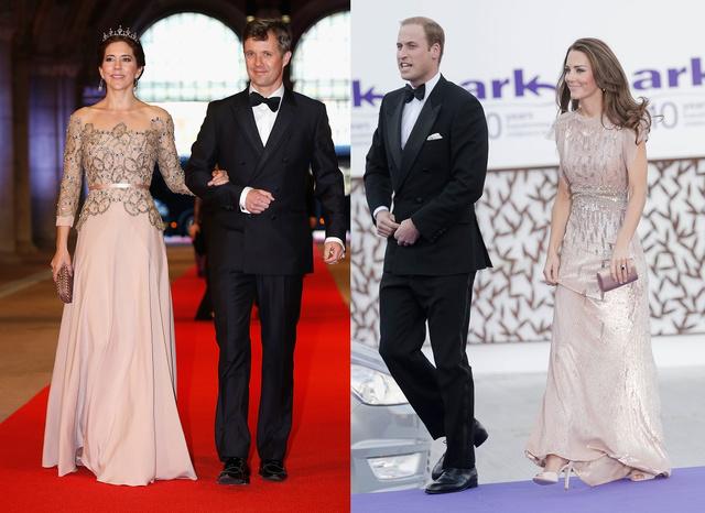 A púderrózsaszín is menő, főleg flitterekkel és gyöngyökkel. Mária 2013 áprilisában a holland Beatrix királynőhöz ment ilyen elegánsan vacsorázni, természetesen Frigyes dán királyi herceggel együtt, Katalin és Vilmos 2011. június 9-én a 10. ARK Gala-ra ment vidáman.