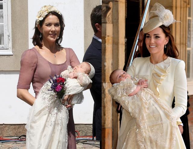 2007. július 1.: Mária kezében Izabella dán hercegnő a keresztelés után. 2013. október 23-án a kis György herceget keresztelték meg. Katalin Alexander McQueen ruhát visel.