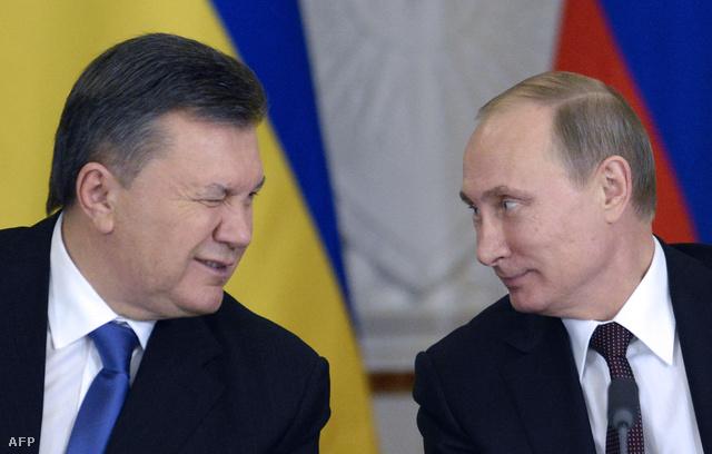 Viktor Janukovics és Vlagyimir Putyin oroszt elnök 2013. december 17-én