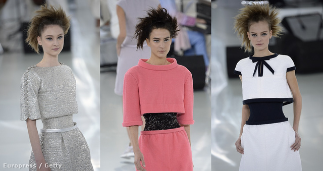 A Chanel bemutatón rengeteg színkombinációban meg lehetett csodálni a legújabb optikai csaló ruhákat.