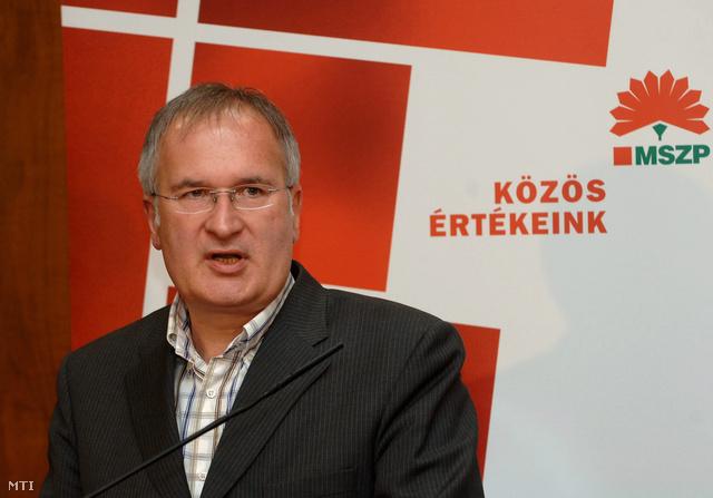 Simon Gábor az Országos Választmány elnöke beszél a választmány ülése utáni tartott sajtótájékoztatón a Bourbon Rendezvényközpontban. (2008.)