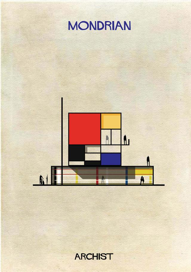 Ahogy Mondrian szín és a formavilága sem.