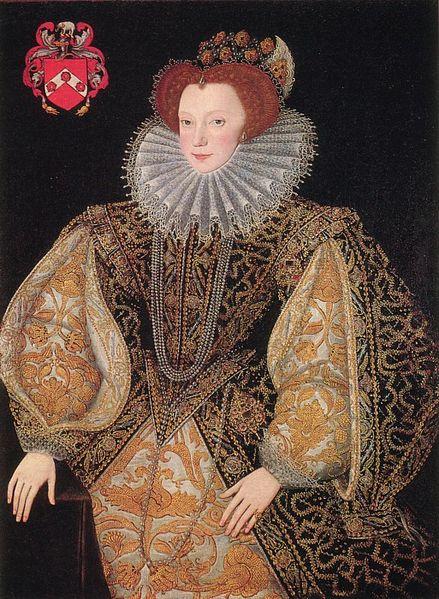 1585 körül: Lettice Knollys, essexi és leicesteri grófné öltözködése megfelelt a kor divatjának: a pufos ujjak, tömött, párnával szélesített szoknya, a vertugadin és a gallér, mely a fejre tereli a figyelmet mind elhagyhatatlan volt egy gazdag nő számára.