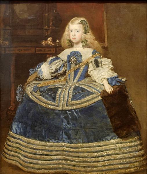 1659: Margarita Teresa infánsnő kék ruhában, Diego Velázquez képén.  A gyerekek öltözködésében sem volt fontos szempont a kényelem, a kislányokra is fűzőt adtak.