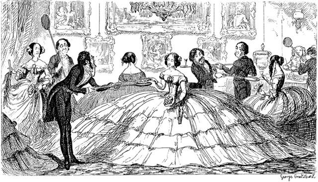 1850-es évek: természetesen karikatúrák is készültek a túlzottan széles szoknyákról.