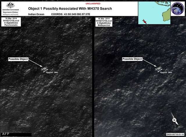 A műholdkép, amin a törmeléket felfedezték. Lehet, hogy az eltűnt maláj repülő részei?