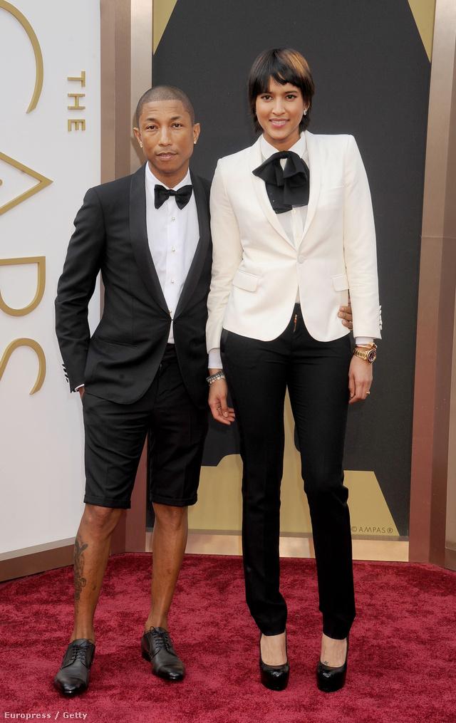 Pharrell Williams és Helen Lasichanh az Oscar-díjátadóra.