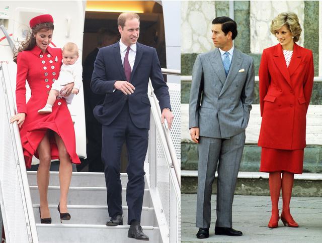 Katalin hercegné pirosban az Ausztrál turnén Vilmossal és Lady Diana nagyon hasonló szettben 1985-ben Firenzében, Károllyal.