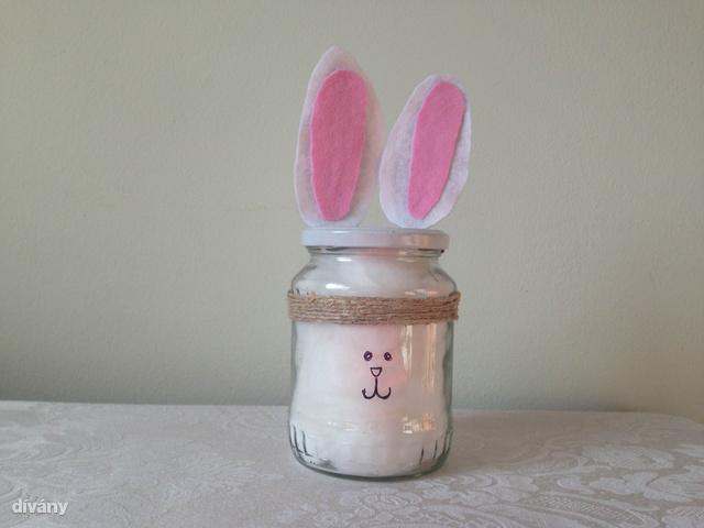 Lapátfülű befőttes: a húsvétra kapott csokoládékkal, de akár apró dekor tojásokkal is megtöltheti.