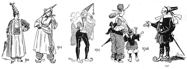 A látvány a negyvenes években is inkább illett volna egy szilveszteri mulatságba, mintsem egy divatlapba.