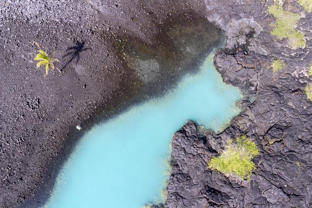 Ha kinagyítják a képet, egy teknőst láthatnak a Kiholo öböl bal partján