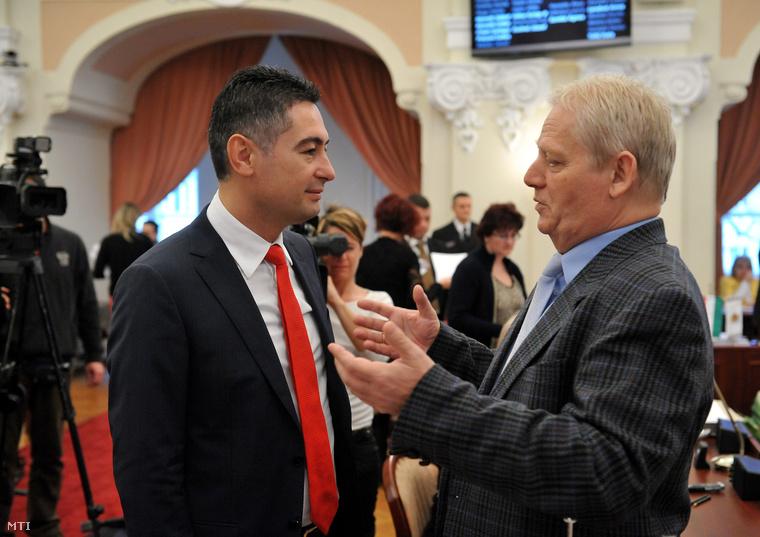 Horváth Csaba és Tarlós István a Fővárosi Közgyűlés ülése előtt