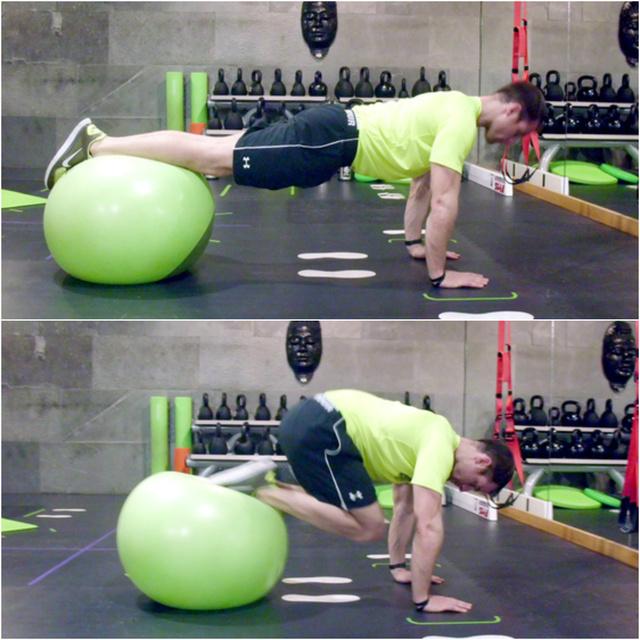 Térdhúzás fitballal: 1.Kiinduló helyzetnél a  törzs izmaival stabilizálunk, derék nem esik be, egyenes, feszes test 2. A behúzásnál a mozdulatot a has, törzs izmaival végezzük, behúzzuk a lábunkat a mellkas felé, a lábszár végig gördül a fitballon