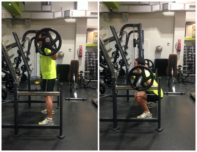 1.Láb-Fenék: Guggolás súllyal (3x12)                          Tipp: A hát egyenes, a fenék hátrafelé menjen, minta egy székre ülnék. Figyeljünk rá, hogy a térd ne menjen a lábfej elé.