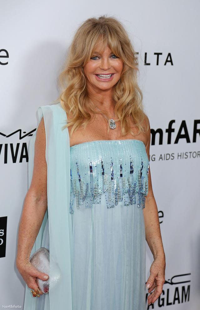 Goldie Hawn a hajszínéhez és bőrtónusához megfelelő alapozótól nem hogy természetes maradt, de még szebb is.