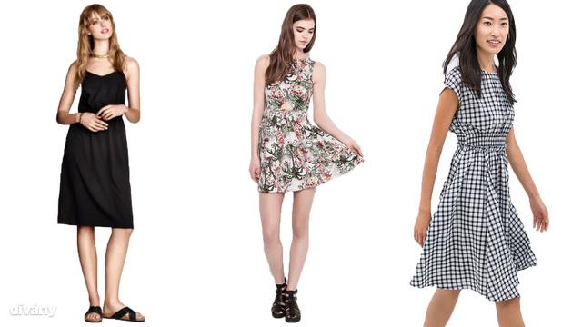 Balról jobbra: fekete H&M ruha, 5990 forint, virágos Pull and Bear ruha, 9995 forint, retro hangulatú Zara ruha, 14995 forint. A turkálókban töredékáron megúszhatja a nyáriruha vásárlást.