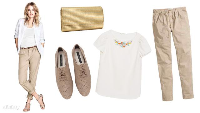 Balról jobbra: táska, H&M, 2990 forint, cipő, Zara, 14995 forint, felső, Zara, 9795 forint, nadrág, H&M 6990 forint.