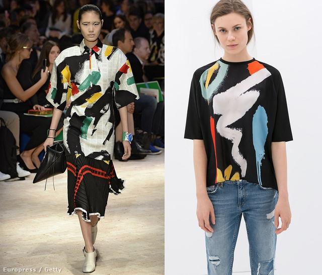 Kattintson a képre a többi részletér: Balról jobbra: Céline a kifutón, Zara felső 8995 forint, Zara ruha 14995 forint, és Anna Dello Russo Céline kabátban.
