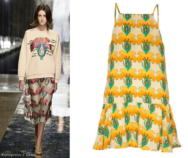 Balról jobbra: Christophe Kane ruhája a kifutón, az ő mintájára hasonló virágokkal nyomott, 65 dolláros Pixie Market ruha, majd még egy Kane-szett.