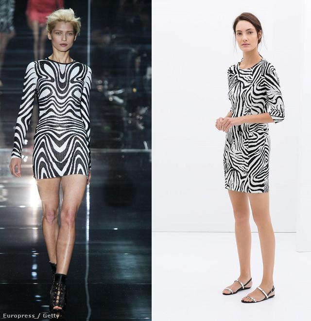 Balra Tom Ford kifutója, jobbra a Zara 14995 forintos ruhája.