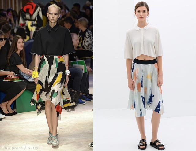 Balra a Céline szettje, jobbra a Zara 9995 forintos szoknyája.