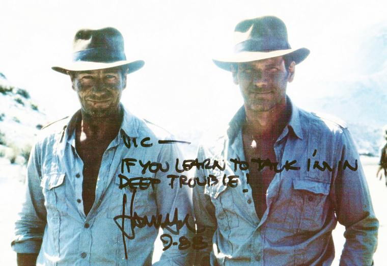 Vic Armstrong és Harrison Ford az Indiana Jones és az utolsó kereszteslovag forgatásán
