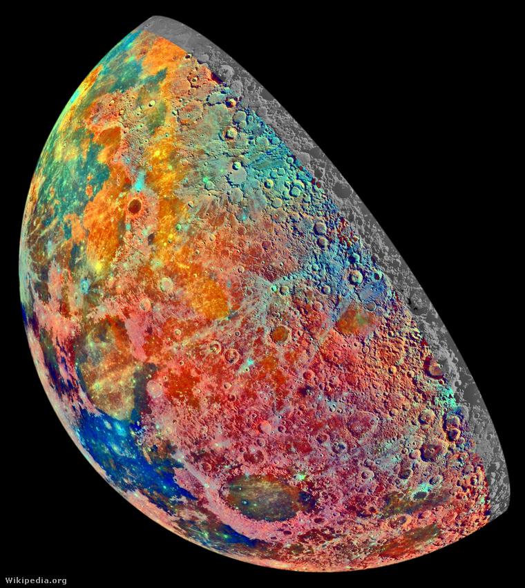 Moon Crescent - False Color Mosaic