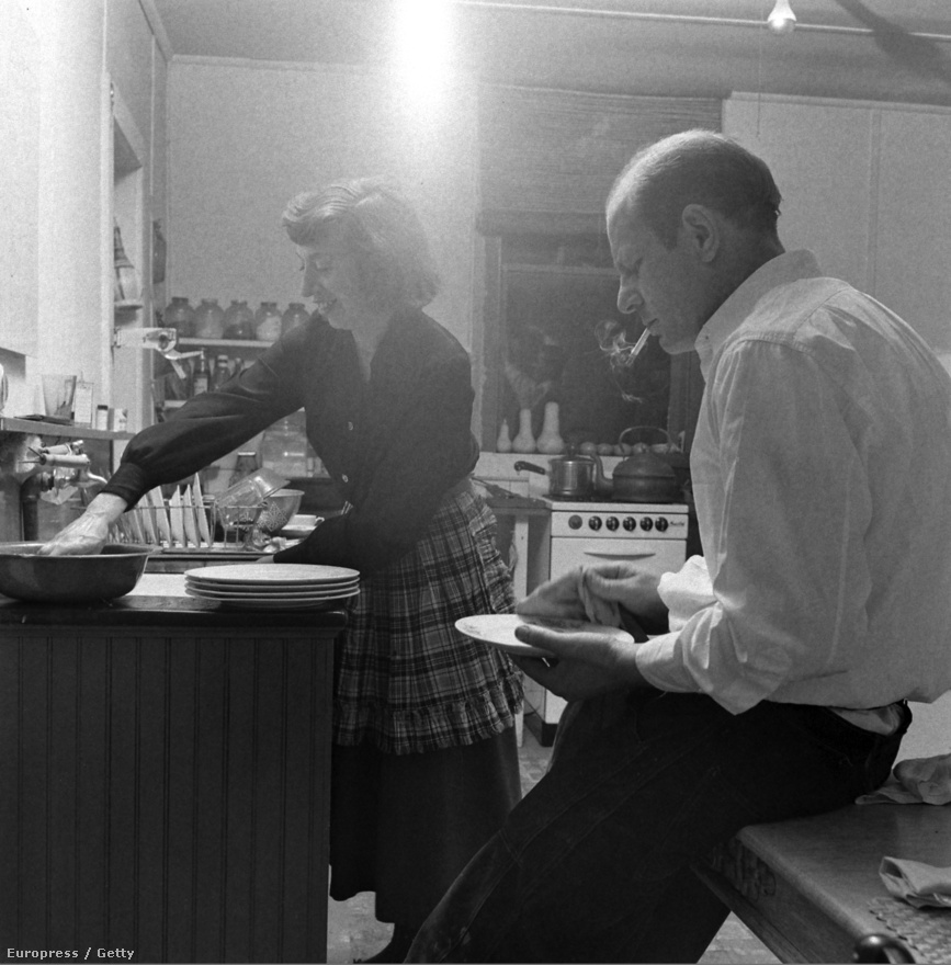 Jackson Pollock cigarettával a szájában törölgeti azokat a tányérokat és edényeket, amelyeket felesége, a szintén festő Lee Krasner már elmosogatott. A felvétel 1949 áprilisában, a művészpár vidéki otthonában készült, akárcsak Holmes egyik leghíresebb képe Pollockról, amelyből 50 évvel a készítése után még bélyeg is lett. A bélyeg változatról kiszedték a művész szájában folyamatosan fityegő cigarettát.