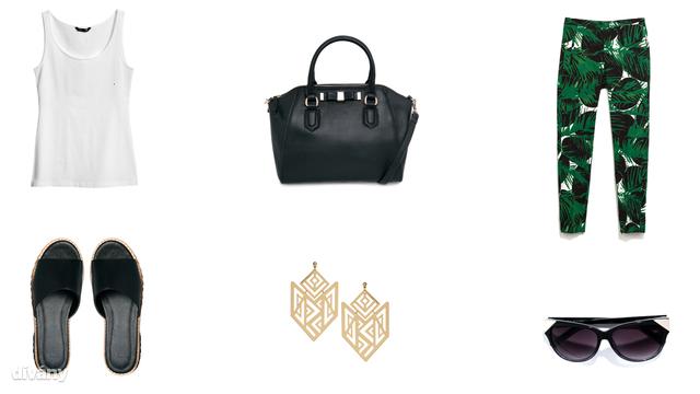 Trikó - 1290 Ft (H&M), nadrág - 9995 Ft (Zara), fülbevaló - 11,27 euró (Asos), napszemüveg - 7995 Ft (Zara), táska - 13995 Ft (Mango), papucs - 35,21 euró (Asos)